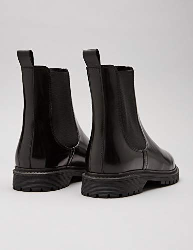 Leather Chelsea Find black Noir Femme Chunky Black Bottes 5PfgFw