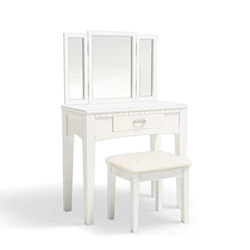 Doris 2-Piece Vanity and Stool Set, White ()