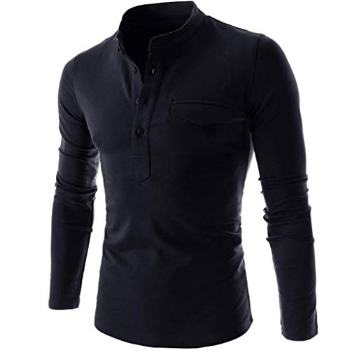 GREFER Autumn Pullover Men's Solid Button-Down Shirts - Basic Long Sleeves Tops - Mens Fashion T-Shirt Navy
