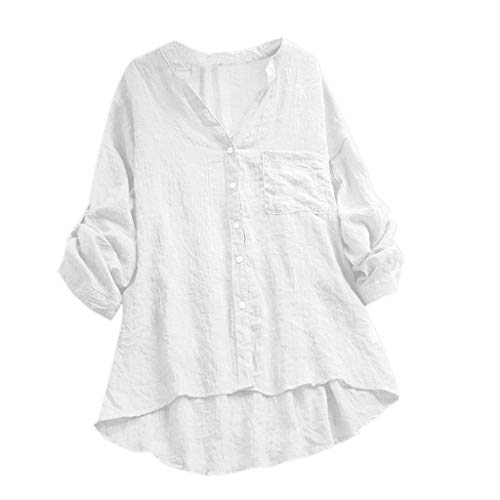 Women's Cotton and Linen Shirt Casual Long-Sleeved V-Neck Shirt Thin Section Button Pocket Shirt Solid Color Shirt MEEYA White