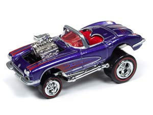 Johnny Lightning 1:64 Street Freaks Ver A 1958 Chevy Corvette Purple - Corvette Chevy 1958