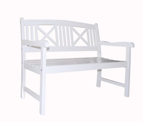 Vifah V1353 Bradley Outdoor Wood Bench (Benches White Outdoor)