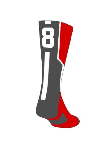 TCK Player Id Red Custom Number Crew Sock (SINGLE SOCK)
