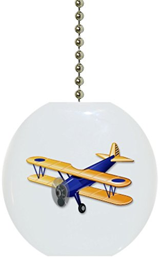 Carolina Hardware and Decor 3132 Blue Airplane Biplane Ceramic Fan Pull