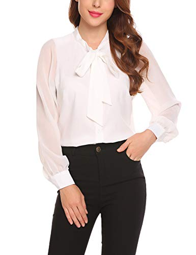 Blouses Tops with Tie Office Ladies Tops Blouses for Women,Long Sleeve Patchwork Casual Button Down Shirt White