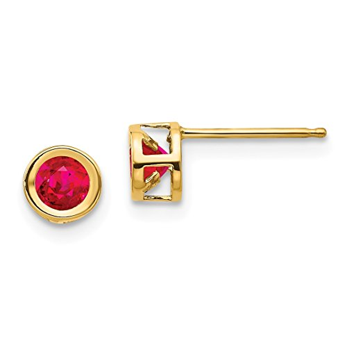 Ruby Heart Earring 5mm Created (ICE CARATS 14kt Yellow Gold Red Ruby Post Stud Ball Button Earrings July Birthstone Bezel Fine Jewelry Ideal Gifts For Women Gift Set From Heart)