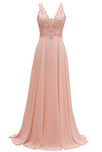 - V-Neck Bridesmaid Dresses Long Beaded Chiffon Lace Beach Wedding Aline Evening Gowns for Women Blush22