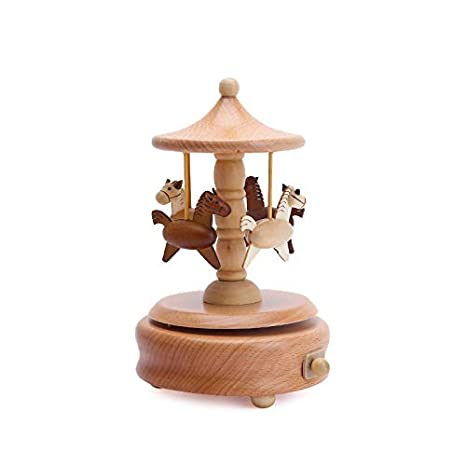 CTlite Wooden Music Box, Mechanism Wind Up Musical Box Gift Present for Christmas Thanksgiving Graduation Valentine's day Birthday (Carousel)