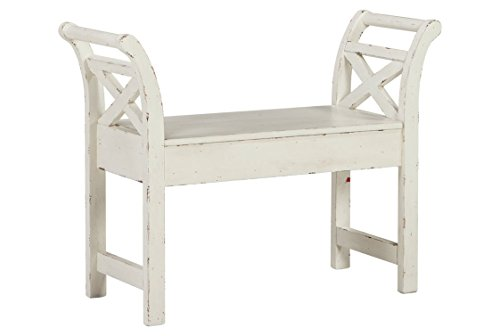 Ashley Furniture Signature Design - Heron Ridge Storage Accent Bench - Antique White Finish - Hinged Seat ()