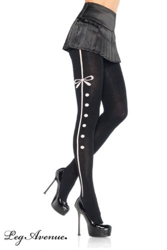 Leg Avenue Acrylic tights with contrast tuxedo stripe and bow detail O/S BLACK