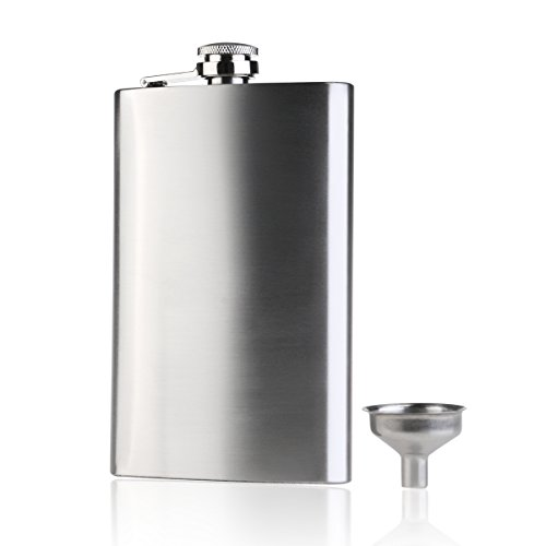 NUOLUX Hip Flask 10oz Stainless Steel Vodka Whisky Hip Flask with Mini Funnel