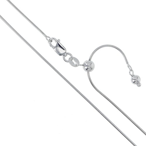 Sterling Silver Adjustable Magic Round Snake Chain 0.9mm Solid 925 Italy Necklace 22