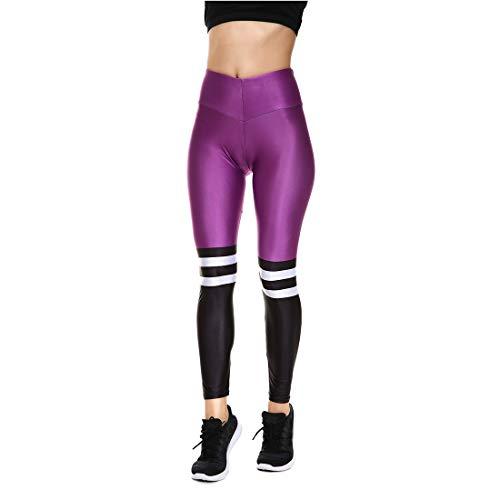 Shiny Spandex Leggings - Lesubuy V Wide Waistband Full Length High Waisted Compression Gym Athletic Exercise Leggings Workout For Women,Purple,Medium