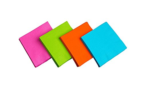 Fiesta Dinner Party - Party Essentials 2-Ply Paper Napkins, Assorted Neon Brights, 24-Count (Multicolor, Dinner)