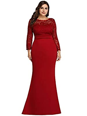 Ever-Pretty Women's Plus Size Floral Lace Mermaid Dress Long Formal Dress 7668