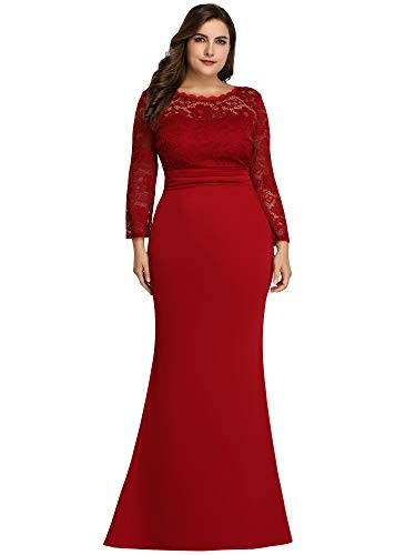Women's Long Sleeve Floral Lace Bridesmaid Dress Floor-Length Mermaid Dress Burgundy US18