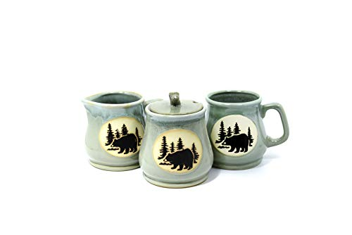 Porcelain Coffee Set w/Bear Mural - Mug, Sugar Bowl, Creamer (Light Blue)
