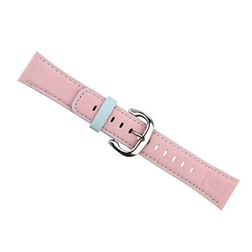 [BEARLIFE] Watchband, Colorful Pu Leather Watchband Strap with Pure Steel Buckle for Apple Watch Iwatch (38 mm/ Pink Blue), (don't include Slide Clips)