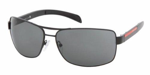 Prada Sport PS54IS Sunglasses-1BO/1A1 Matte Black/Black Rubber (Gray Lens)-65mm (Prada Sport Shoes Women)