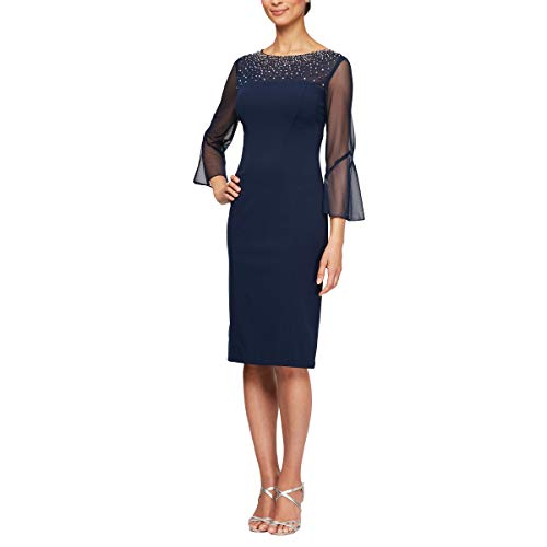 Alex Evenings Women's Long Shift Dress Illusion Neckline (Petite and Regular), Navy/Silver, 10 (Blue Dress Illusion)
