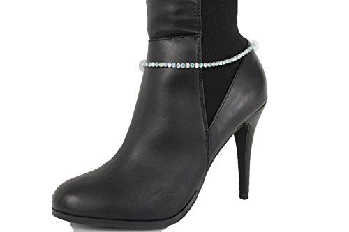 TFJ Women Western Fashion Jewelry Boot Chains Bling Bracelet Silver Metal Blue Rhinestones Shoe Charm