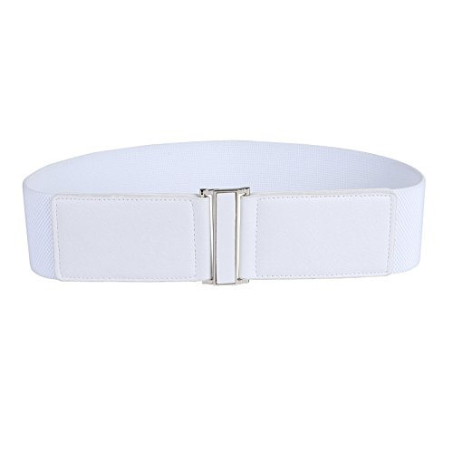 Women's Wide Metal Interlock Buckle Elastic Belt (S,White (Stretch Patent Buckle Belt)