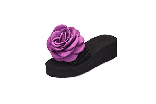 LIVY de nuevo las rosas silvestres femenina palabra arrastre de espuma antideslizante de fondo plano informal zapatillas de playa de fondo grueso de verano Púrpura