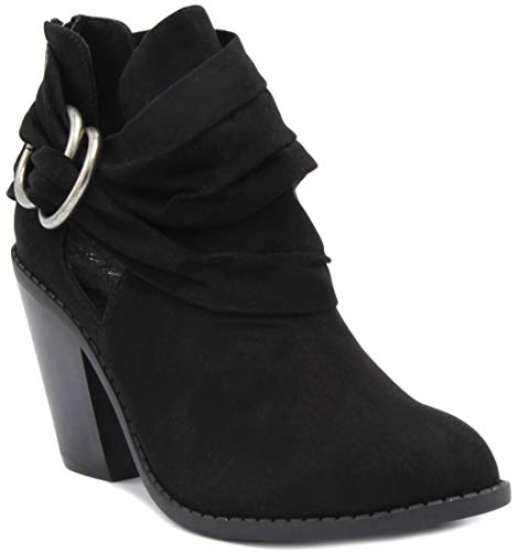 Sugar Casual Boots - Sugar Women's Victory Transitional Dress Block Heel Ankle Boot Ladies Slouch Bootie with Open Ankle Black 10