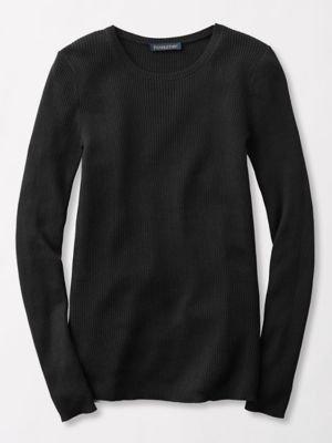 Jewel Neck Sweater - Pendleton Women's Size Rib Jewel Neck Pullover Sweater, Black, Petite Small