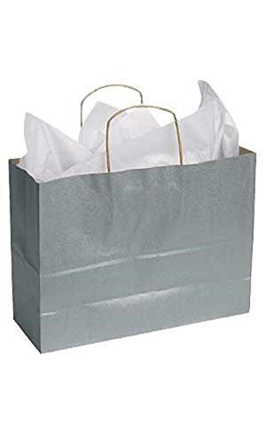 Large Metallic Silver Paper Shopping Bags - 16'' x 6'' x 12'' Case of 100 by STORE001