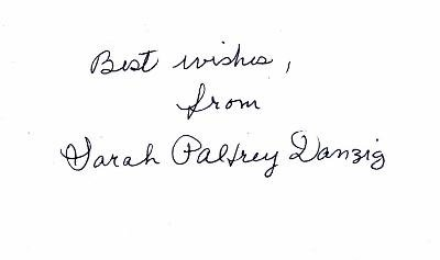 Sarah Palfrey Cooke - Sarah Palfrey Danzig Signed - Autographed Tennis 3x5 inch index card - Guaranteed to pass BAS - Deceased 1996 - Beckett Authentication