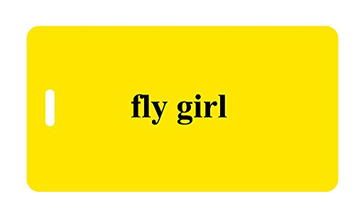 Luggage Tag - fly girl (Yellow/Black)