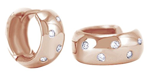 Round Cut White Natural Diamond Huggies Hoop Earrings In 14K Solid Rose Gold (0.12 Ct) (Ct Natural 0.12)