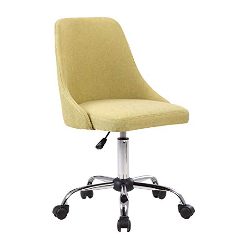 Porthos Home EFC023A GRN Roache Task Chair with Adjustable Height, 360° Swivel and 5-Claw Metal Base with Roller Caster Wheels (Hemp Fabric Upholstery, for Home and Office Uses), One Size Green from Porthos Home
