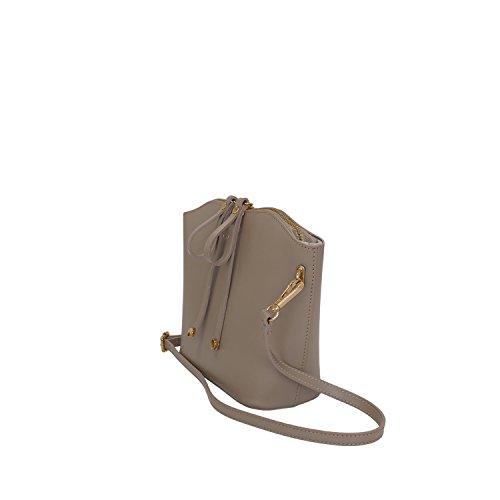 Borsa a Tracolla Donna Diletta Borsa in Vera Pelle Liscia Made in Italy Maison Bag 27x20x10 cm Taupe