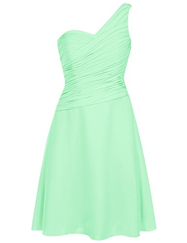 (EDressy One Shoulder Bridesmaid Dresses Short Chiffon Prom Homecoming Dress Party Formal Gowns Mint US 4)