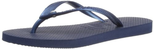 Havaianas Women Slim Crystal - Havaianas Women's Slim Crystal Glamour Swarovski Flat Flip Flop - Black, Sand Grey/Light Golden UK 6/7 - Bra 39/40 Navy