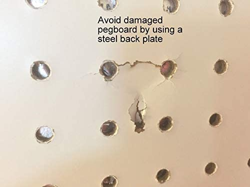 Peg Hook Steel Backing Plate for Reinforcement of Pegboard Hooks 10 Pack