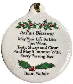Italian Ornaments - Italian Blessing Like Good Wine 2018 Porcelain Ornament Boxed Rhinestone Crystal