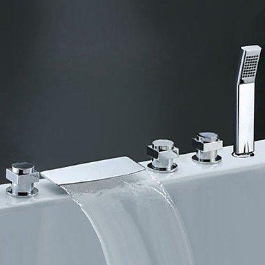 Moderne Moderner Stil 3-Loch-Armatur Wasserfall Gute Qualität with Messingventil Drei Griffe Fünf Löcher for Chrom , Badewannenarmaturen by FAUCET&YAMEIJIA