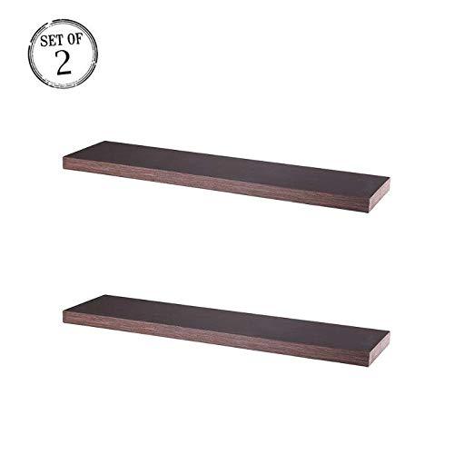 Julie-HomeFloating Wall Mountable Shelf  Storage Shelves for Bedroom, Living Room, Bathroom, Kitchen Set of 2 Walnut ()