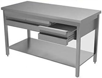 Mesa de acero inoxidable con estante y cajonera sin Alzatina Dim. cm 120 x 60 x 85h: Amazon.es: Hogar