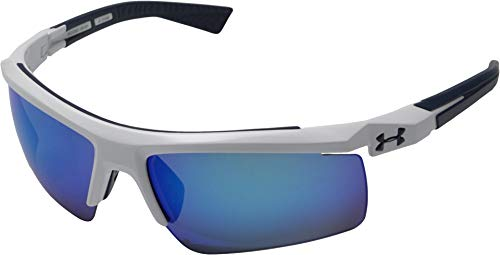 Under Armour Core 2.0 Multiflection Sunglasses Shield, White & Navy Frame, 69 mm