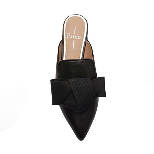 On Bow Black Leather Mule Leather ANYA Suede Toe Slip Flat Origami Pointy qnCwwSvxgX