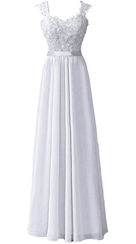 RohmBridal Women's Double Straps Lace Appliqued Bridesmaid Dress White 8