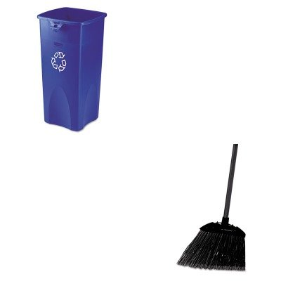 KITRCP356973BERCP637400BLA - Value Kit - Rubbermaid Blue Untouchable Square Recycling Container, 23 Gallon (RCP356973BE) and Rubbermaid-Black Brute Angled Lobby Broom (RCP637400BLA) by Rubbermaid