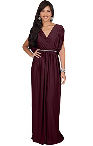 - KOH KOH Plus Size Womens Long Cocktail Empire Waist Short Sleeve Formal V-Neck Bridesmaid Summer Flowy Bridesmaids Wedding Guest Grecian Gown Gowns Maxi Dress Dresses, Maroon Wine Red XL 14-16