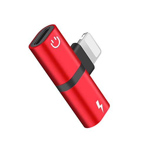 SIVMIG Headphone Jack Adapter, 2 in 1 Dual Splitter for iPhone 8/8 Plus/X (10) / 7/7 Plus/Xs/Xs Max/XR Earphone Audio Cable and Charger Accessories, Headphone Music Dongle Phone Call Adapter, Red