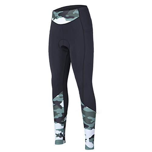 beroy Women 3D Padded Cycling Pants with Adjust Drawstring,Ladies Compression Tights Bike Pants(L Camo)_