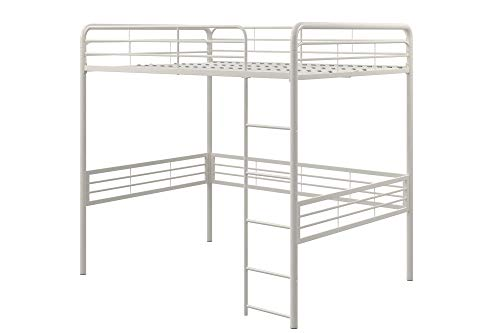 (DHP 5472396 Full Metal Loft Bed with Ladder Space-Saving Design, White)
